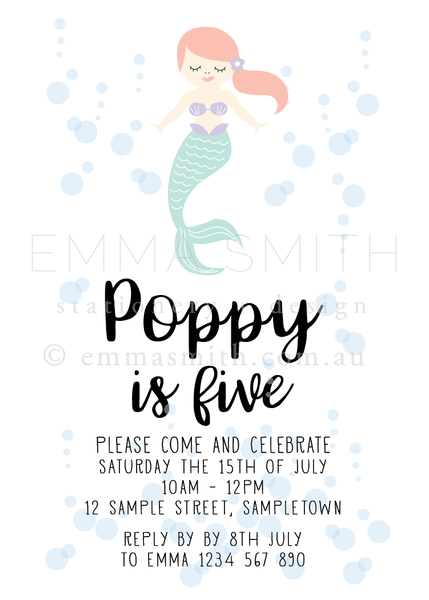 Mermaid Party Printable invitation download editable template | Emma Smith Event Stationery