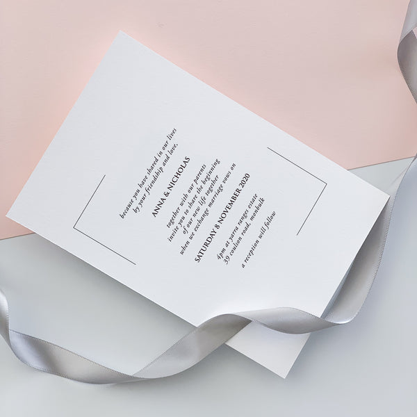 Minimalist Typographic Wedding Invitation | Emma Smith Stationery and Design