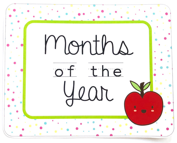 Bright Classroom Decor Printable Download Months of the Year
