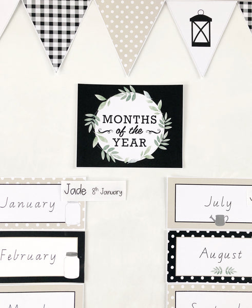 Farmhouse Theme Classroom Decor Printable Download Months of the Year