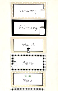 Farmhouse Theme Classroom Decor Printable Download Months