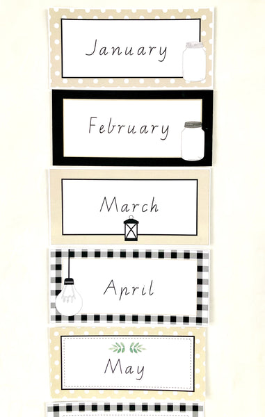 Farmhouse Theme Printable Download Classroom Decor Months