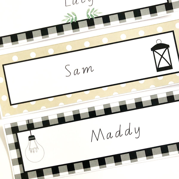 Farmhouse Theme Classroom Decor Printable Download Name Plates