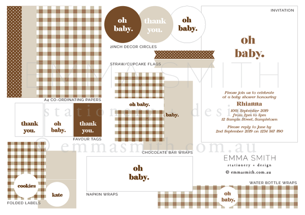 Earthy Gingham Printable Party Decoration Download Bundle