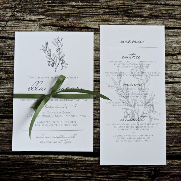 Green Green and Grey Rustic Wedding and Engagement invitation. Affordable Printable. Emma Smith