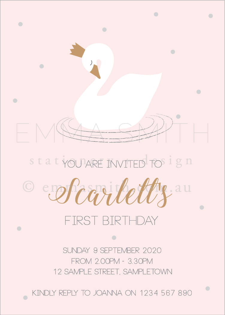 Perfect Swan Princess Invitation download printable template | Emma Smith Event Stationery