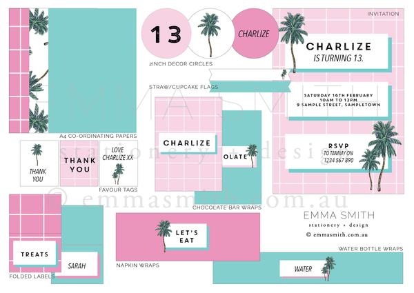 Palm Springs  | All Inclusive Party Decoration Printable Download | Emma Smith Event Stationery