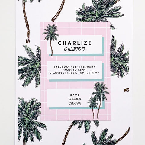 Palm Springs Inspired Digital Birthday Party  Invitation Printable | Emma Smith