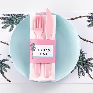 Palm Springs  | All Inclusive Party Decoration Napkin Wraps Printable Download | Emma Smith Event Stationery
