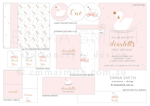 Perfect Swan Princess Printable Party Decorations Template Download | Emma Smith Event Stationery