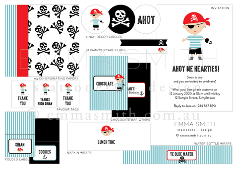 Pirate printable party package and decorations editable template || Emma Smith Event Stationery