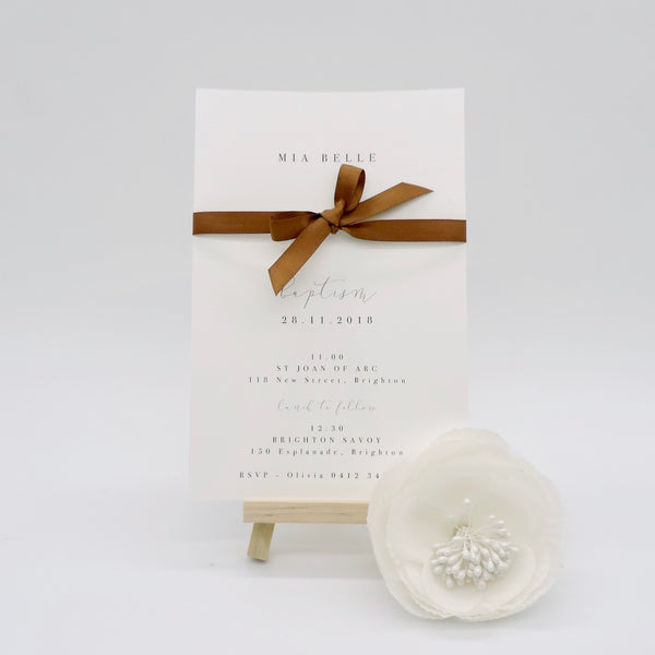 Customised black and white Wedding invitation with ribbon feature. Affordable Printable. Emma Smith