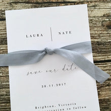 Sophisticated minimal Wedding or Engagement Invitation with ribbon feature. Printable. Emma Smith