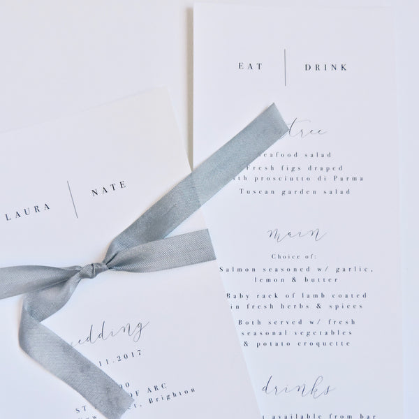 Classic black and white Wedding invitation with ribbon feature. Affordable Printable. Emma Smith