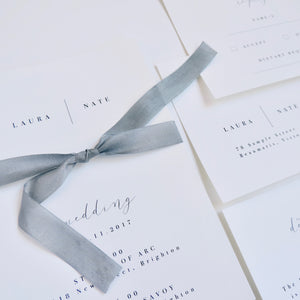 Digital Wedding or Engagement Invitation with minimalist black and white and ribbon feature. Printable. Emma Smith