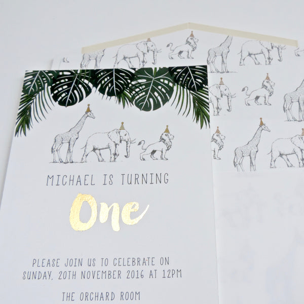 African Animal Safari Birthday Party invitation with Gold print. Affordable Printable. Emma Smith