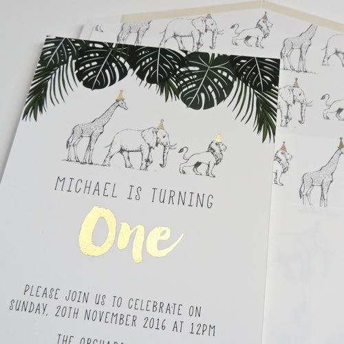 Black White and Gold Jungle Safari Birthday Party invitation. Affordable Printable. Emma Smith