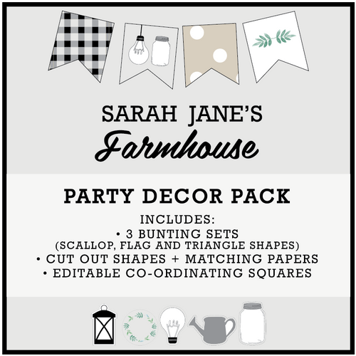 Farmhouse Theme Printable Download Party Decorations