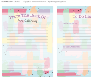 Free Teacher Stationery Note Paper Download