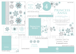 Frozen Snowflake Party Decor Printable Download Template | Emma Smith Event Stationery