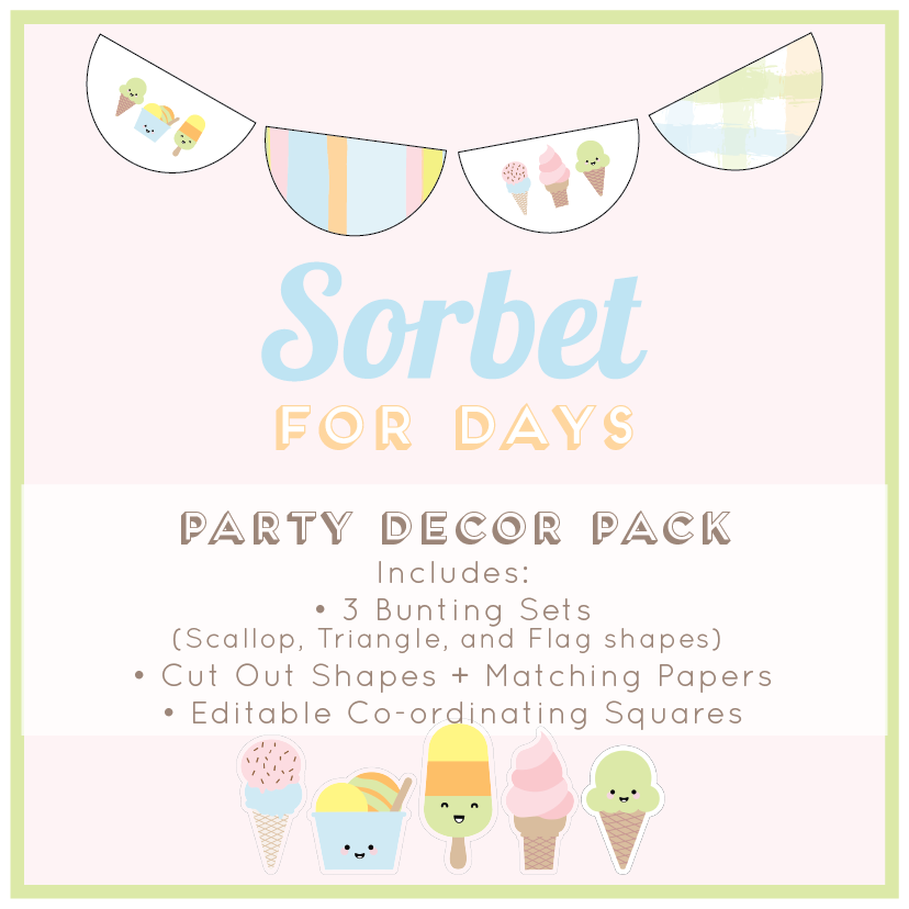 Sorbet Ice Cream Themed Party Decoraitons Download Bundle