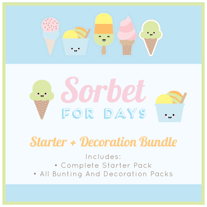 Sorbet Ice Cream Themed Classroom Decor Download Bundle