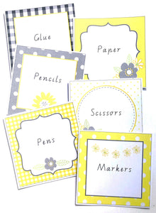 Yellow Daisy Theme Classroom Decor Printable Labels