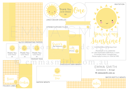 Sunshine theme birthday party download template printable | Emma Smith Event Stationery