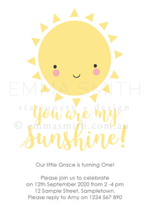 You are my sunshine invitation printable download | Emma Smith Event Stationery
