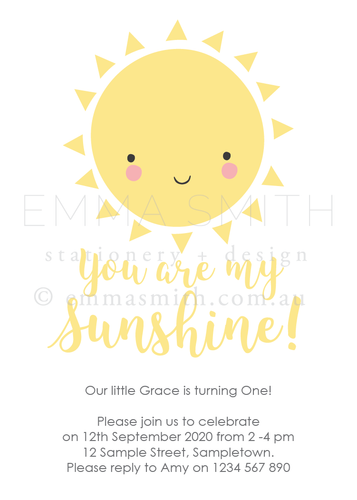 Sunshine Happy Invitation birthday party printable | Emma Smith Event Stationery