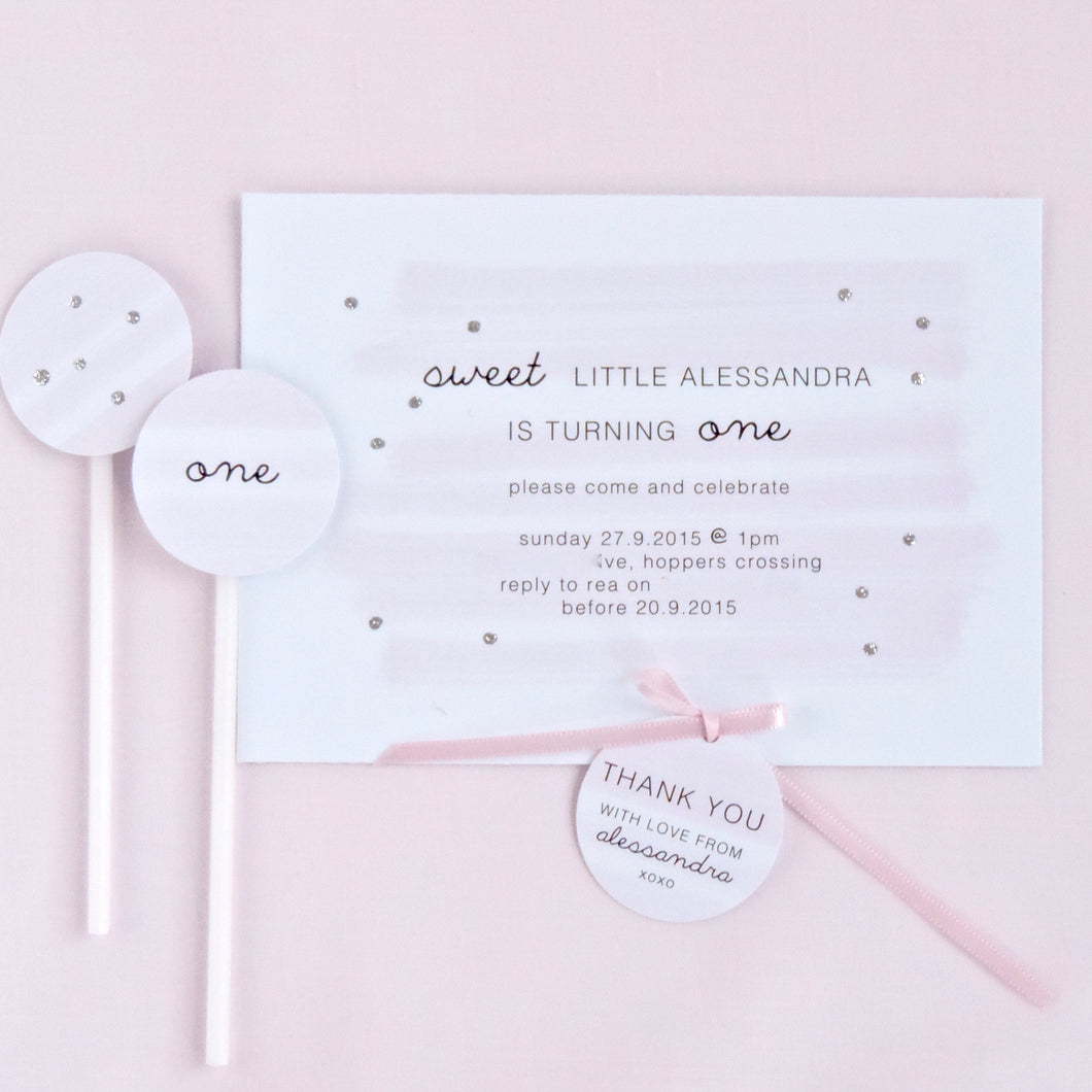 Customised soft pink shimmer watercolour Birthday Party or Baby Shower invitation. Affordable Printable. Emma Smith