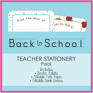 Bright Printable Teacher Stationery Download Bundle