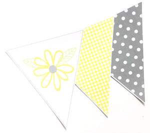 Yellow Daisy Party Decoration Printable Download Triangle Bunting Flag