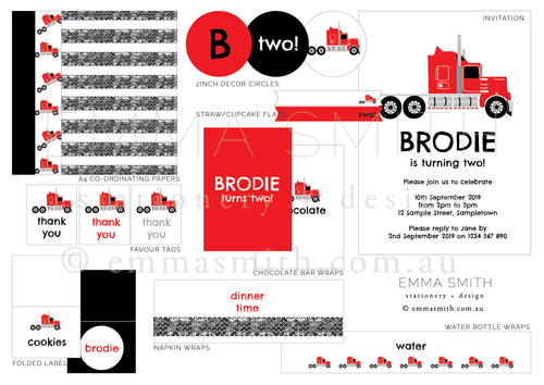 Bright Red Truck Birthday Party Printable Package Download | Emma Smith Stationery
