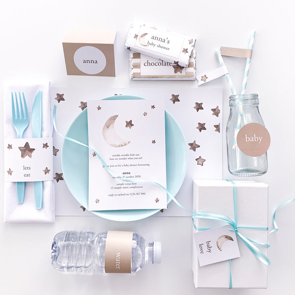 Twinkle Twinkle Little Star Printable Party Decoration Template package | Emma Smith Event Stationery