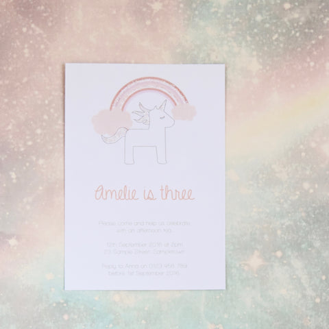 Pink Glitter Rainbow and Unicorn Birthday Party invitation. Affordable Printable. Emma Smith