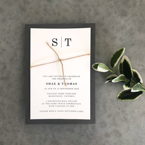Monogrammed Wedding Invitation by Emma Smith Event Stationery