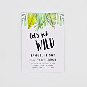 Digital birthday Invitation with Bright Green Foliage. Printable. Emma Smith