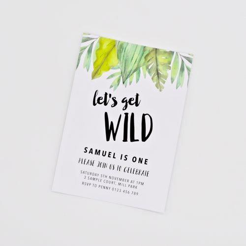 Digital birthday Invitation with Wild Jungle greenery. Printable. Emma Smith