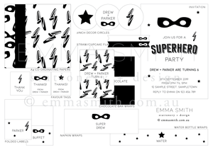 Superhero Printable Party Decoration Bundle Download | Emma Smith