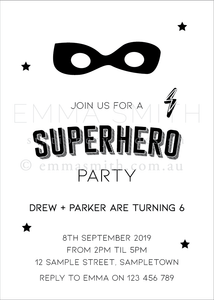 Superhero Invitation editable download printable | Emma Smith Event Stationery
