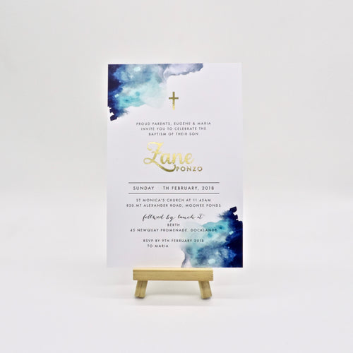 Deep blue watercolour Baptism or Birthday Party invitation. Affordable Printable. Emma Smith