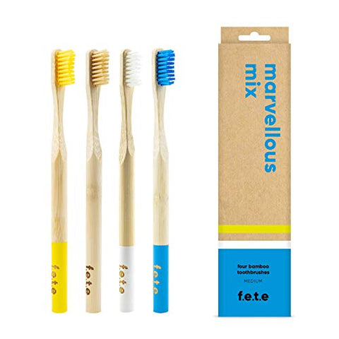 F.E.T.E Toothbrush MultiPack Medium Natural Yellow White Blue 4pieces