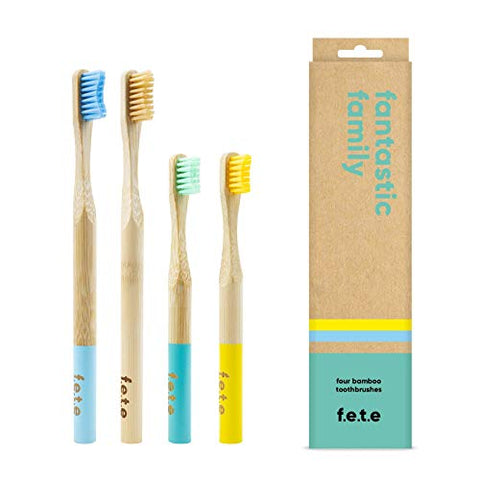 F.E.T.E Toothbrush Family Pack Multi Colour 2 Children & 2 Adults 4pieces
