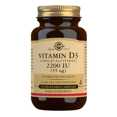 Solgar Vitamin D3 (Cholecalciferol) 2200 IU (55 µg) 50 Vegetable Capsules