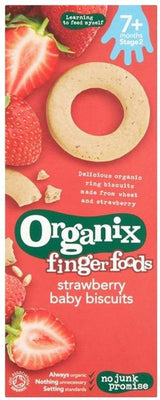 Organix Organic Baby Ring Biscuits Strawberry 54g (Pack of 5)