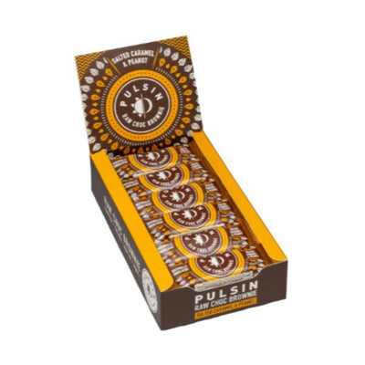 Pulsin Snacks Salted Caramel & Peanut Raw Choc Brownie 35g (Pack of 18)