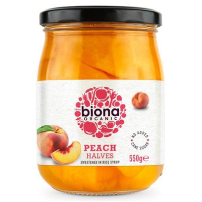 Biona Organic Peach Halves in Rice Syrup 550g
