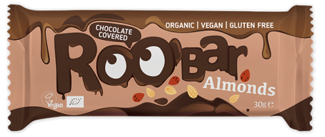 RooB Organic Chocolate Covered Almond Bar 30g (Pack of 16)