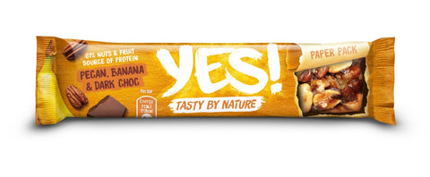 YES! Dark Chocolate Banana & Pecan Fruit & Nut Snack Bar 35g (Pack of 12)